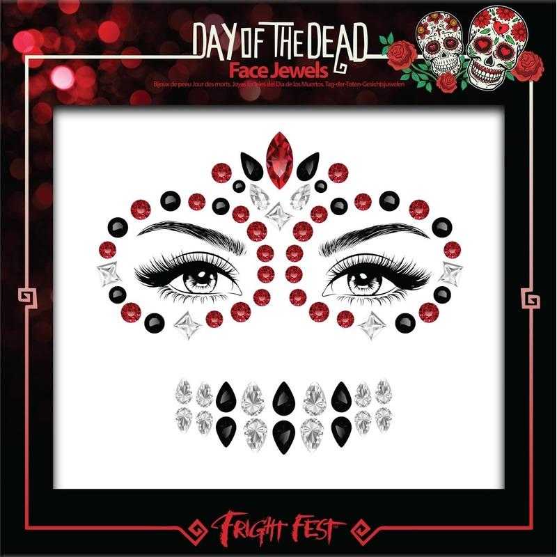 Rode-zwarte Day of the Dead sugar skull make-up steentjes set