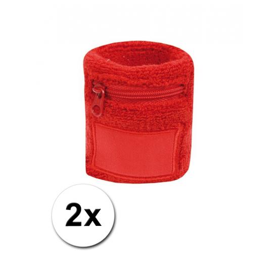 Rode zweetband met ritsje 2 stuks