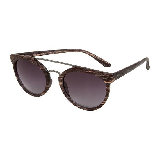 Ronde aviator zonnebril woodlook bruin