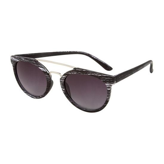 Ronde aviator zonnebril woodlook zwart