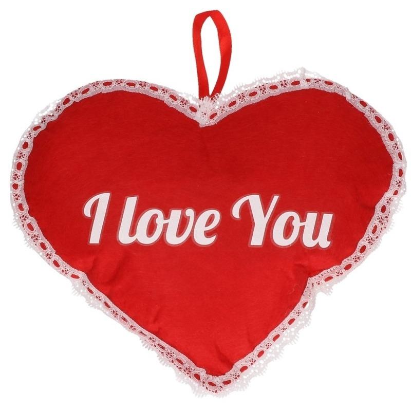 Rood hart I Love You vilten hangdecoratie 21 x 27 cm