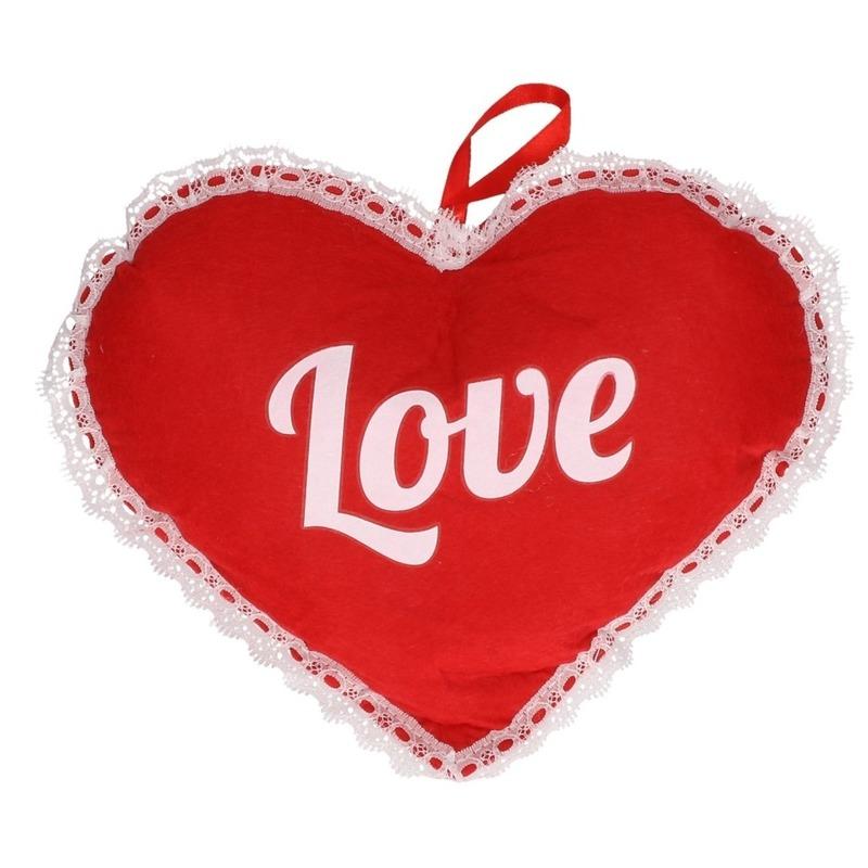 Rood hart Love vilten hangdecoratie 21 x 27 cm