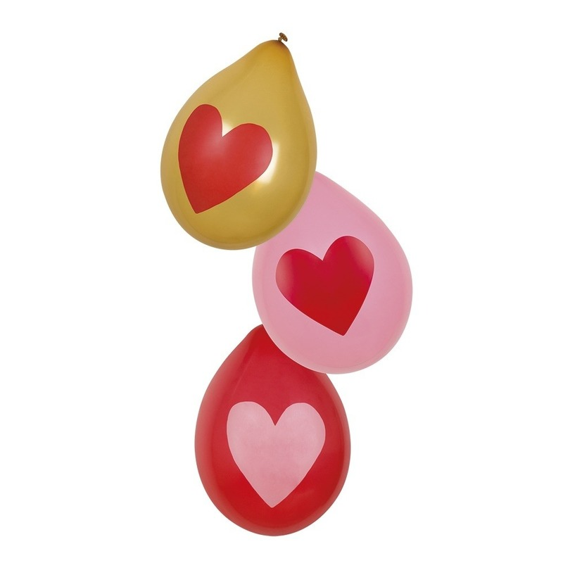 Rood, roze en gouden hartjes ballonnen 6 stuks