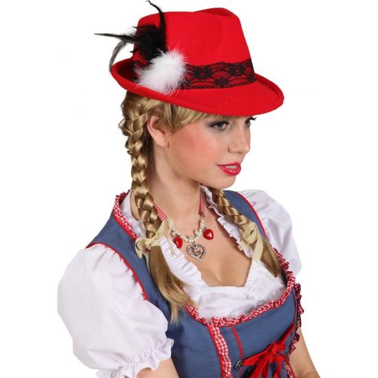 Rood Tiroler oktoberfest hoedje met kant