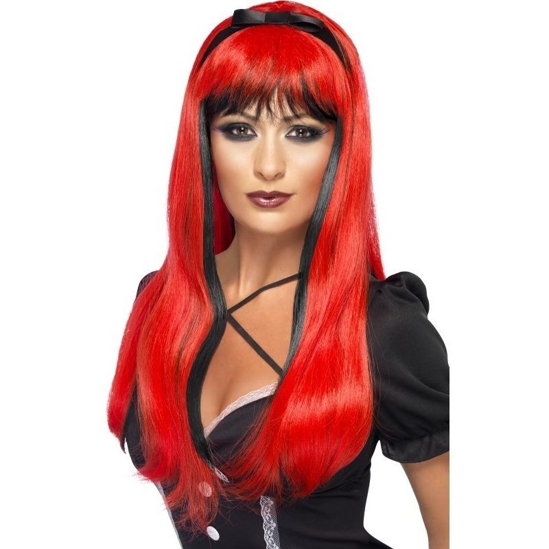 Rood/zwarte lange pruik voor dames