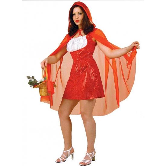 Roodkapje jurk met cape kostuum - verkleedkleding