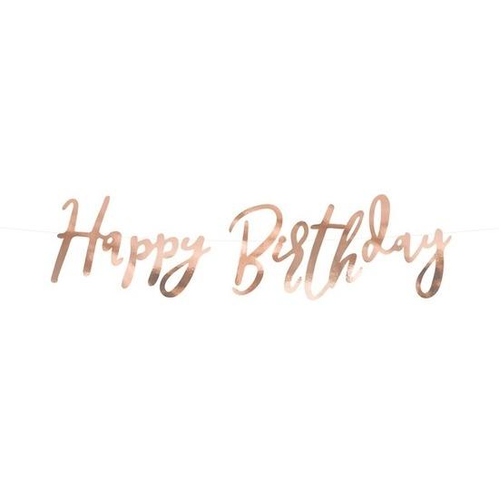 Rose gouden feest slinger Happy Birthday 62 cm