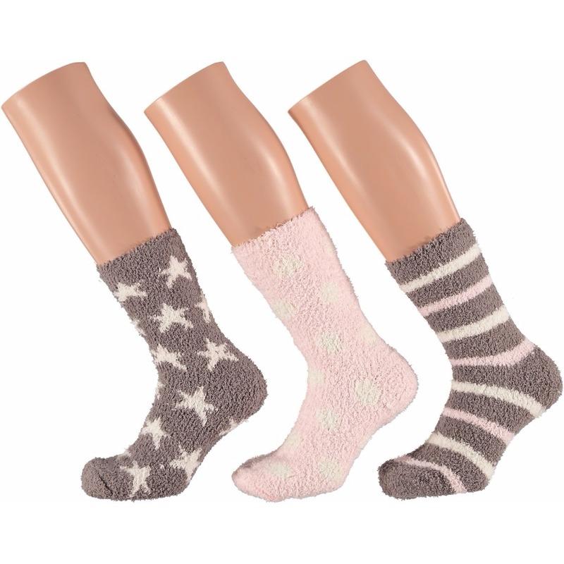 Roze/bruine dames huissokken/slofsokken met sterren 3 paar