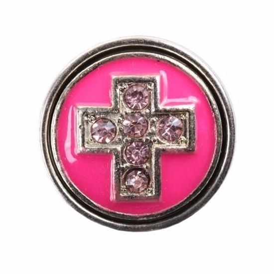 Roze chunk met kruis 1,8 cm