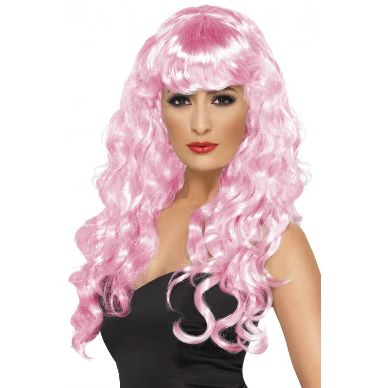 Roze dames krullen pruik