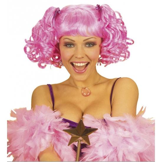 Roze damespruik met staartjes voor