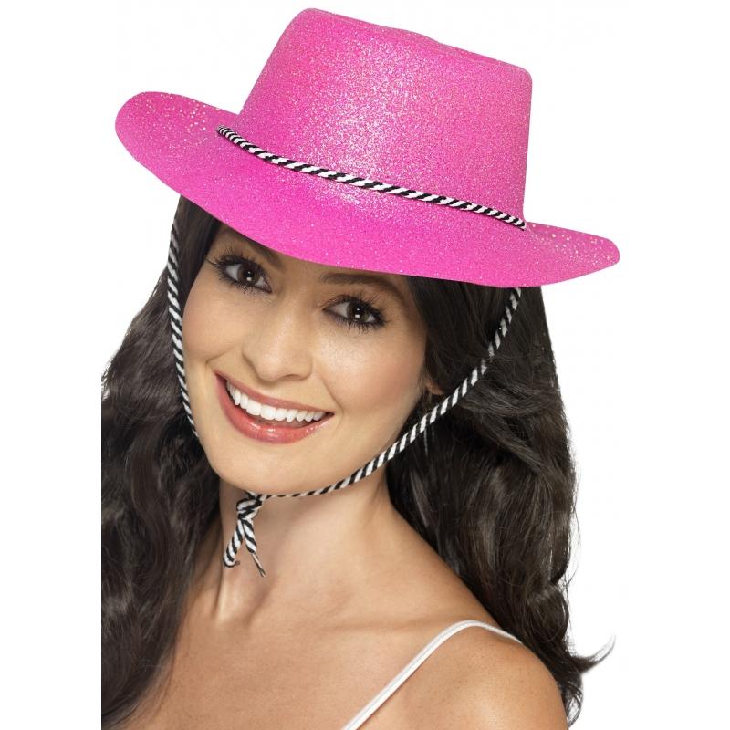 Roze glitter cowboy hoed