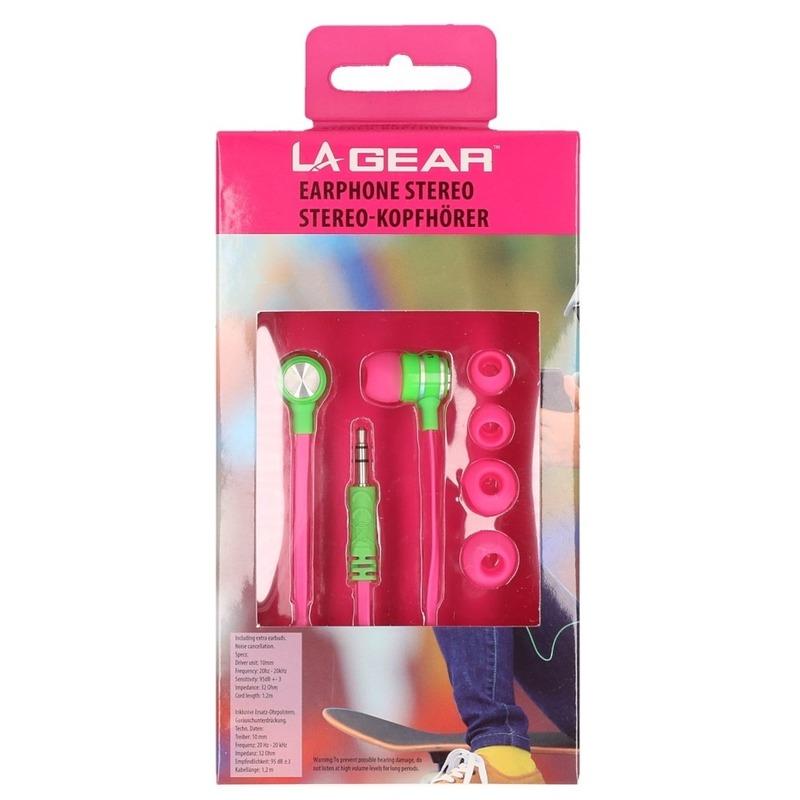 Roze/groene oordopjes/oortelefoon in ear stereo