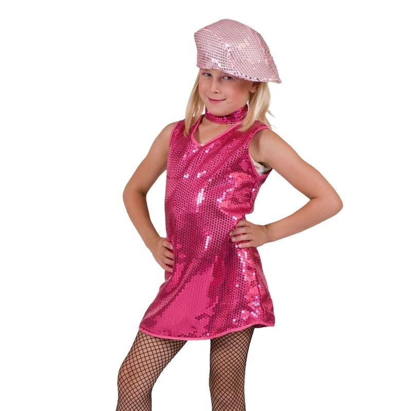Roze jurkje met pailletten kinderen