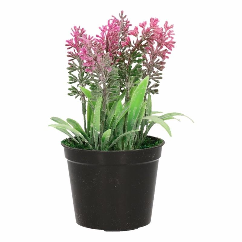Roze Lavendula/lavendel kunstplant 16 cm in zwarte pot