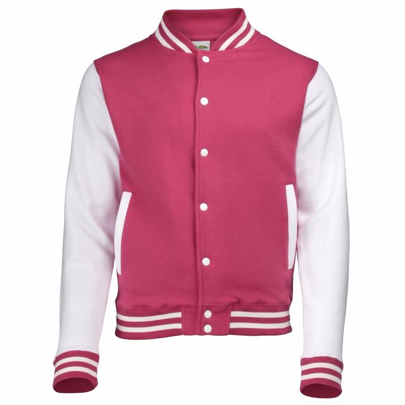 Roze met wit college jacket voor heren