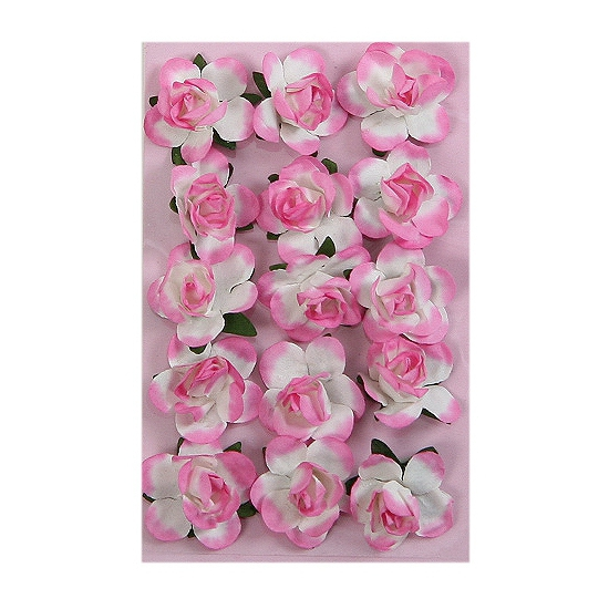 Roze papieren bloemetjes 1,5 cm
