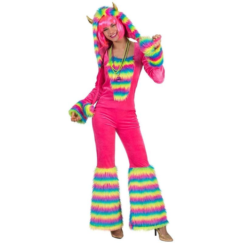 7fe6edfe0b6f87 Roze regenboog monster verkleed pak voor dames