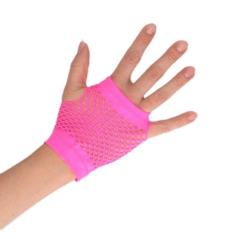 Roze rocker/punker korte visnet handschoenen voor volwassenen