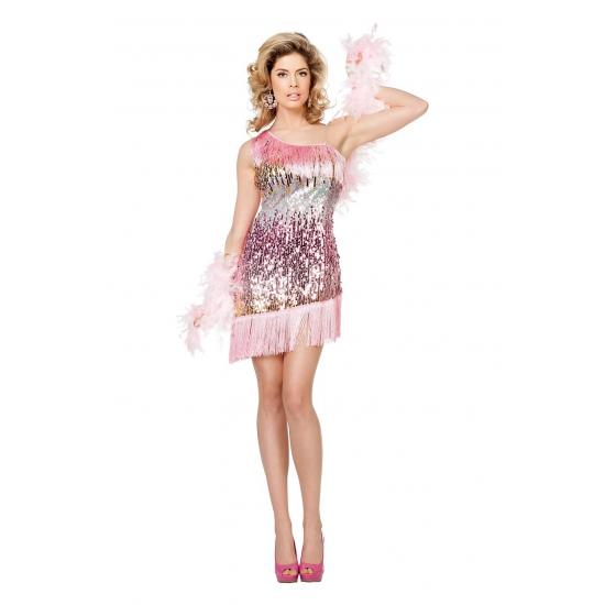 Roze show jurkje met pailletten