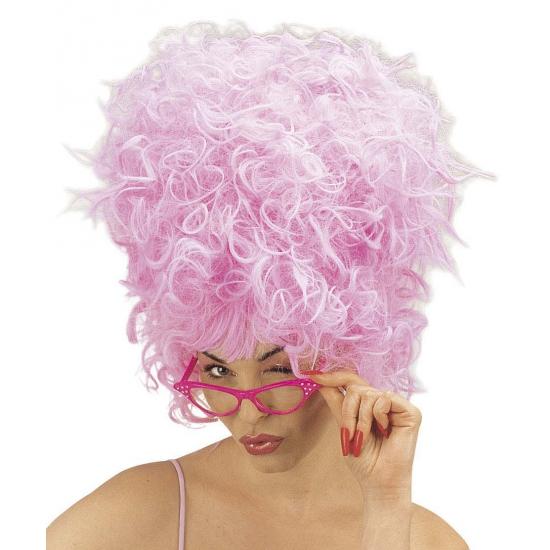 Roze suikerspin pruik voor dames
