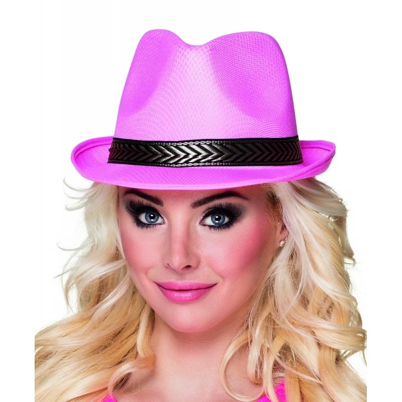 Roze trilby hoed voor volwassenen
