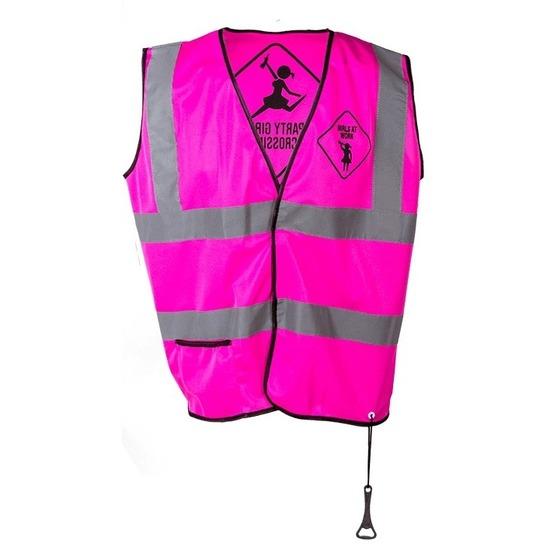 Roze veiligheidsvestje party girls voor dames