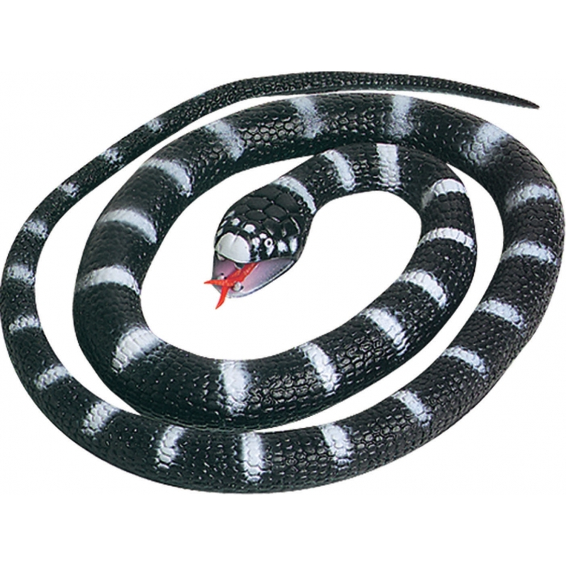 Rubberen zwarte slang 66 cm