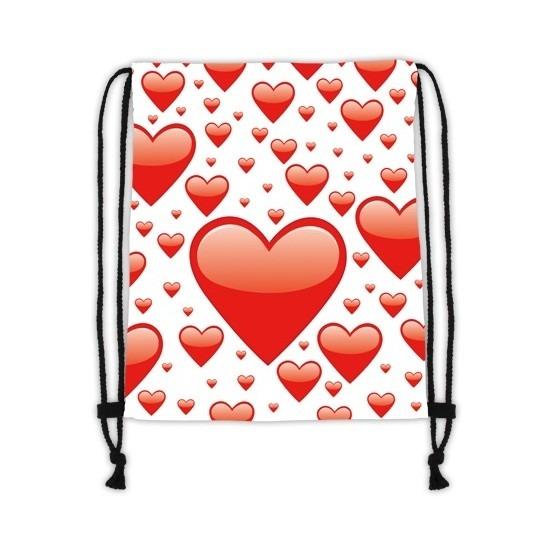 Rugtas wit met rijgkoord met rode hartjes print