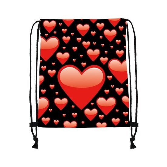 Rugtas zwart met rijgkoord met rode hartjes print