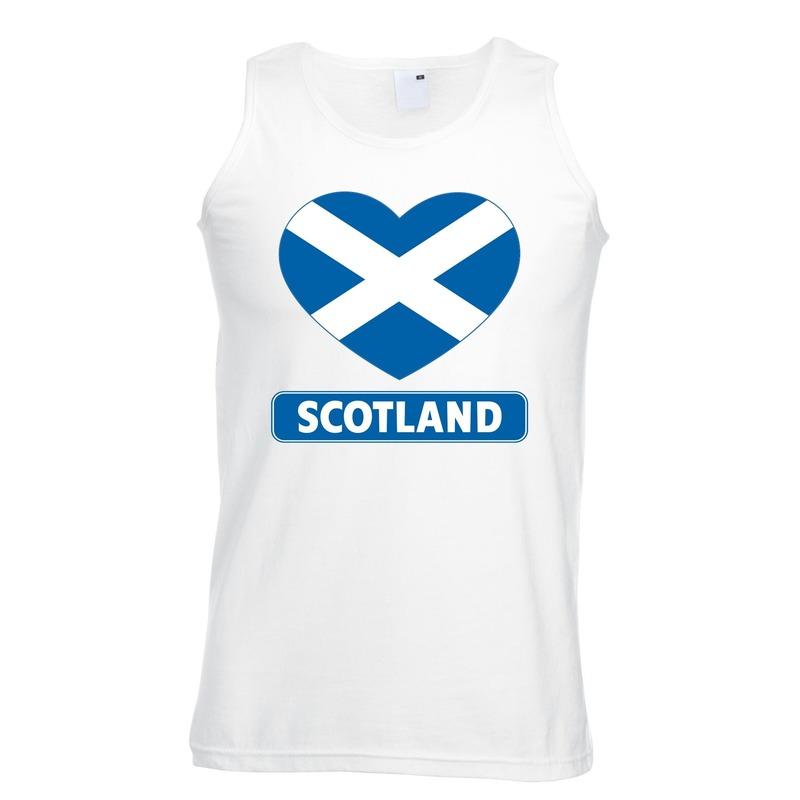 Schotland hart vlag singlet shirt/ tanktop wit heren