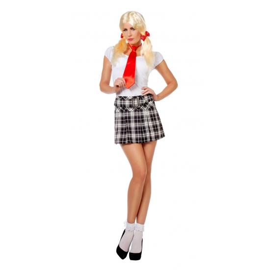 Schotse rok met zwart witte ruit voor dames