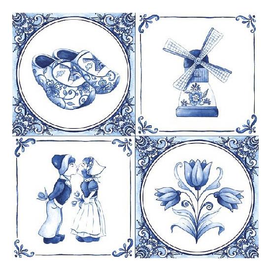Servetten Delfts blauw 60 stuks