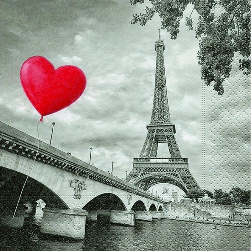 Servetten Eiffeltoren met hart 20 stuks