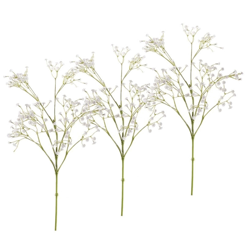 Set van 7x stuks kunstbloemen Gipskruid takken wit 65 cm