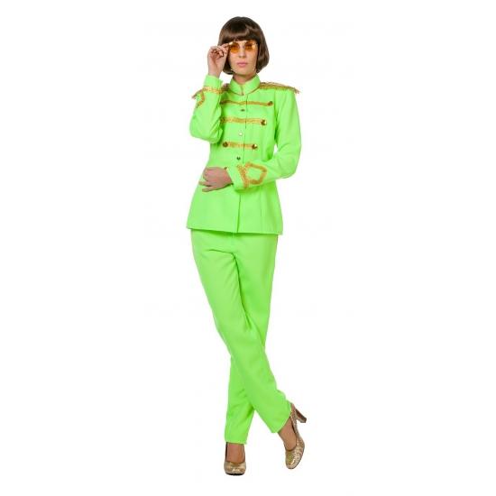Sgt Pepper kostuum neongroen voor dames
