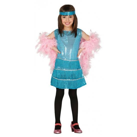 Showgirl jurkje blauw voor meisjes
