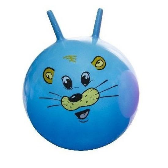 Skippybal met dieren gezicht blauw 46 cm