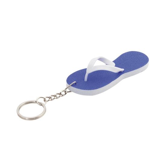 Sleutelhanger blauwe teenslipper 8 cm