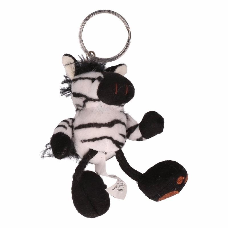 Sleutelhanger pluche zebra 10 cm