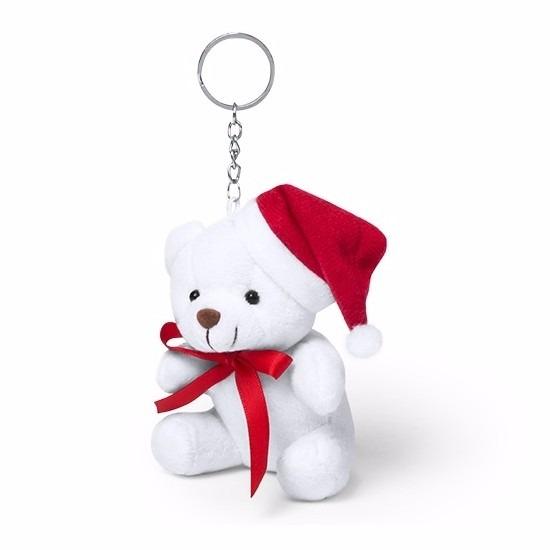 Sleutelhanger witte kerst beer 10 cm