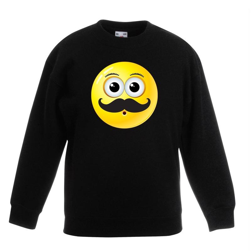 Smiley sweater snor zwart kinderen