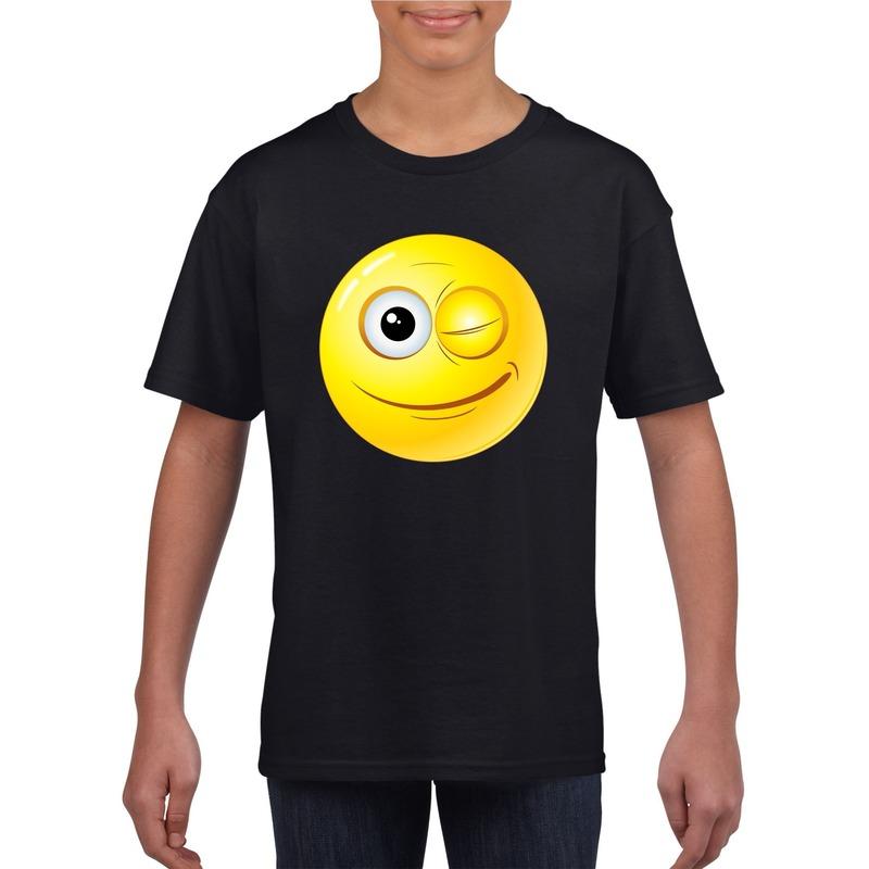 Smiley t-shirt knipoog zwart kinderen