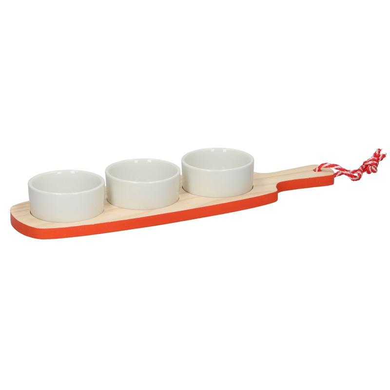 Snack-amuse serveer plank rood-oranje