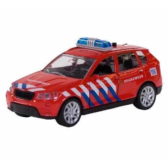 Speelgoed brandweerauto met zwaailicht 12 cm