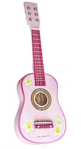 Speelgoed gitaar roze met bloemen