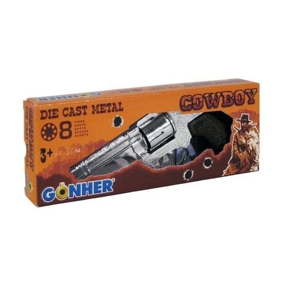 Speelgoed plaffertjes/klappertjes pistool 8 schots zilver 20 cm