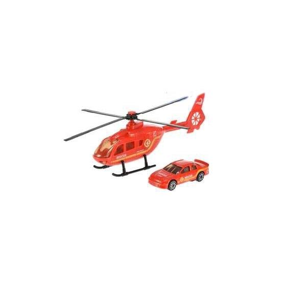 Speelgoed reddingshelikopter en auto speelset
