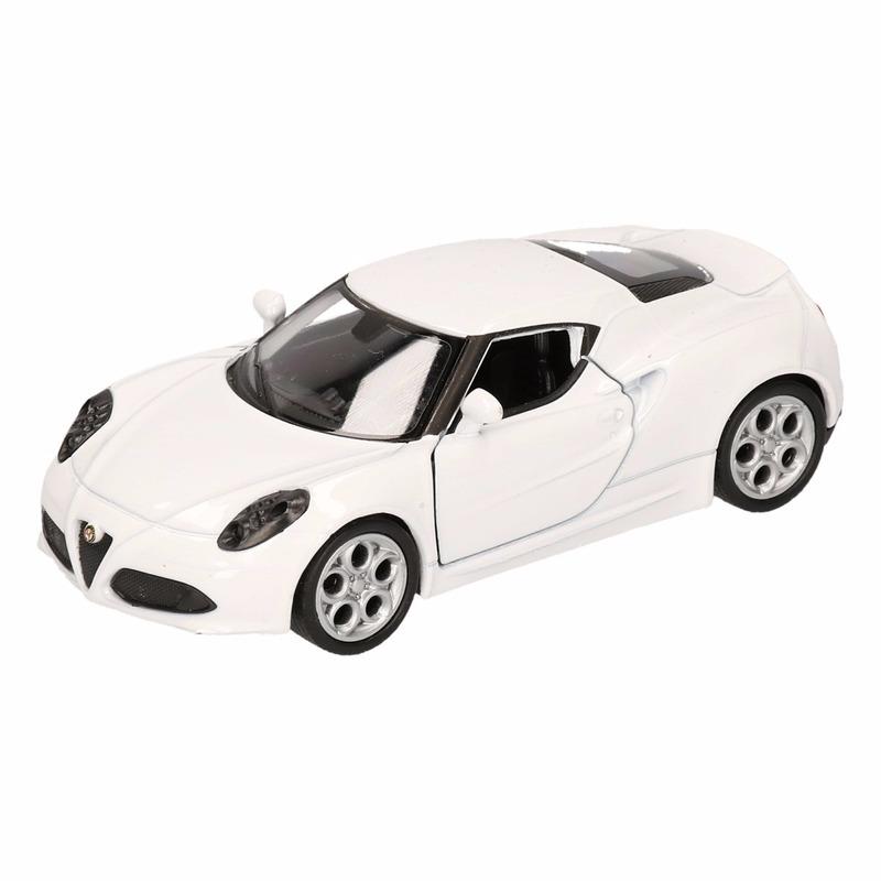 Speelgoed witte Alfa Romeo 4C 2013 auto 12 cm