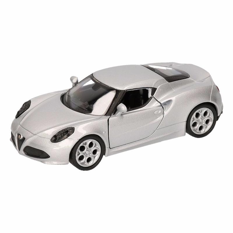 Speelgoed zilveren Alfa Romeo 4C 2013 auto 12 cm